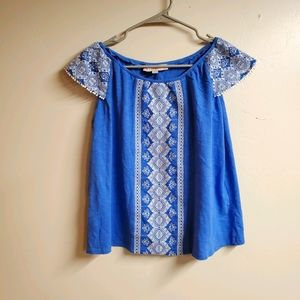 LOFT Off Shoulder Blouse with Embroidery Detail